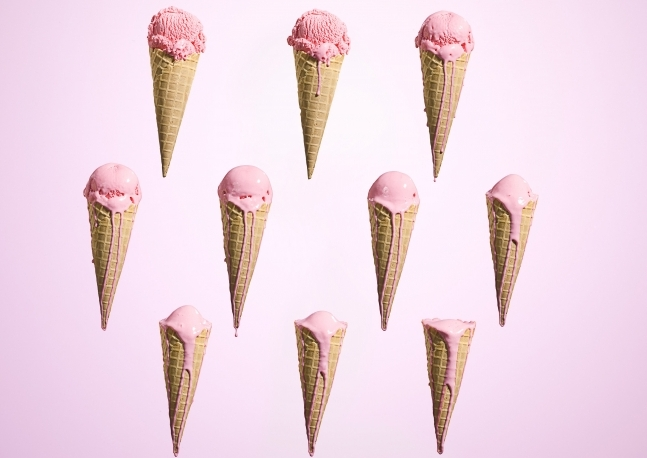 Melting ice cream at different stages