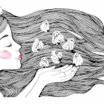 Young girl profile portrait.and white butterflies. Black and White Fashion illustration.